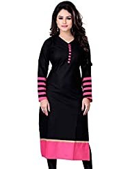 RadadiyaTRD Women's Cotton Kurti (Black Kurti_Free Size Black)