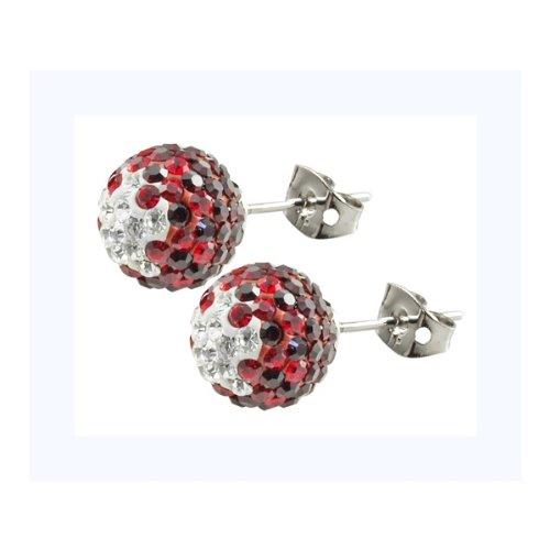 Tresor Paris Sassy Red And Black Crystal Earrings 10mm