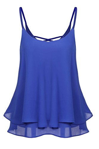 ACEVOG Chic Women's Spaghetti Strap Swing Chiffon Blouse Tank Top Blue XL (Spaghetti Strap Swing Blouse compare prices)