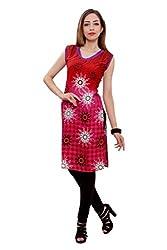 Kurti Studio Festive Red Magenta Unstitched Cotton Kurti Dress Material
