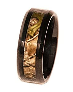 Camouflage on Black 8mm Band Ring (7) from Southern Designs