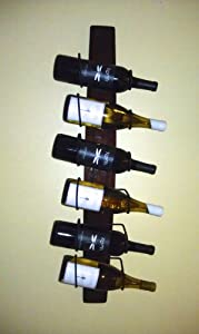 6 Bottle Metal Wine Rack Made with a Wine Barrel Stave (red oak)