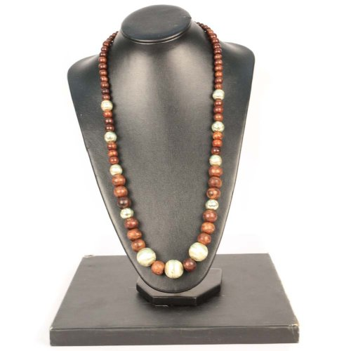 Handmade Wood and Bold Brass Bead Long Necklace