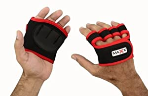 New blk.red neoprene palm grip pads with extra support for weigh