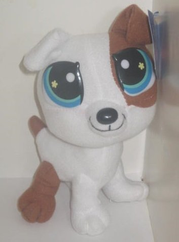 "Littlest Pet Shop White & Brown Puppy Dog Plush 8"" - 1"