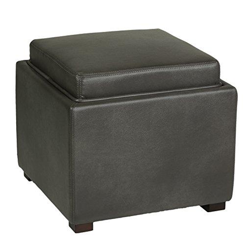Sensational Cortesi Home Mavi Grey Top Tray Storage Cube Ottoman In Inzonedesignstudio Interior Chair Design Inzonedesignstudiocom