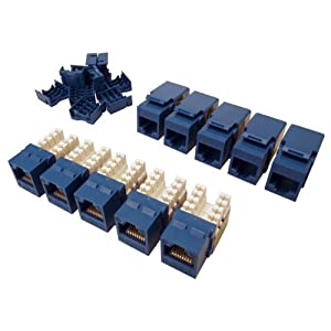 Shaxon BM603U810-10B, Category 5E Keystone Jack 10 Pack, RJ45 to 110, Blue