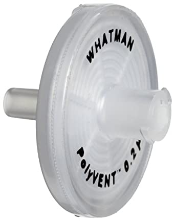 Whatman 6713-0425 PTFE PolyVENT 4 Venting Filter Discs Membrane Stepped Barb Fittings, 25mm Diameter, 0.2 Micron (Pack of 50)