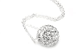 Authentic Diamond Color Crystals Ball Pendant, Includes Sterling Silver Chain 18 Inches Rolo. Now At Our Lowest Price Ever but Only for a Limited Time!