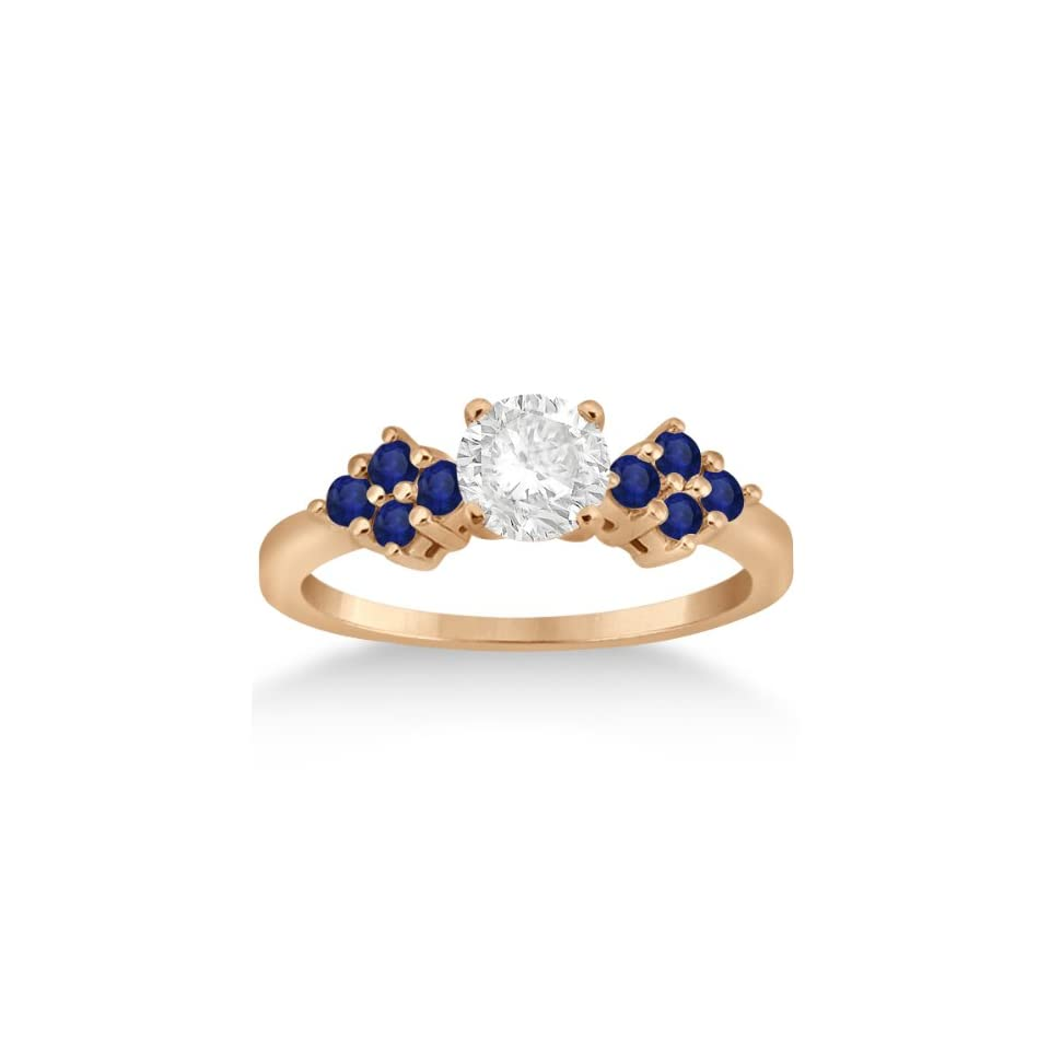 Blue Sapphire Floral Cluster Engagement Ring with Side Accents 18k Rose Gold Prong Setting (0.35 ct)