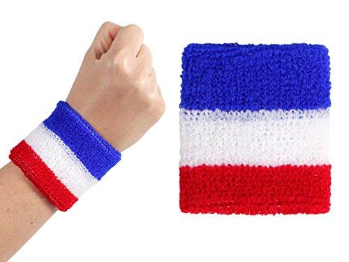 Due polsini nei colori della bandiera francese (00/0763) Francia per tifosi ultra francesi mondiali europei coppa calcio stadio accessorio France bracciale polsino sport