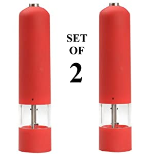 Automatic Salt and Pepper Mill, (Set Of 2), Grinder, and Shaker Set. Rubber Coated -... by Kitchen Meister