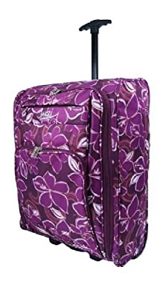 Floral Onboard Luggage Cabin Trolley Case Wheeled Hand Luggage Bag (Purple)