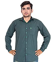 7 Buttons Men's Casual Shirt (s010_Green_Large)