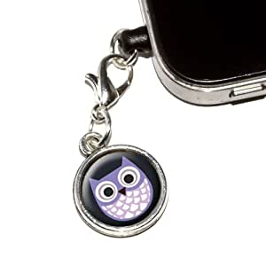 Graphics and More Cute Purple Owl Anti-Dust Plug Universal Fit 3.5mm Earphone Headset Jack Charm for Mobile Phones, iPhone, iPod, iPad and Galaxy - 1 Pack - Non-Retail Packaging - Antiqued Silver