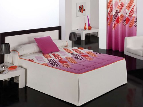Barbadella - Colcha edredón bergamo, medidas cama 105 cm, color fucsia