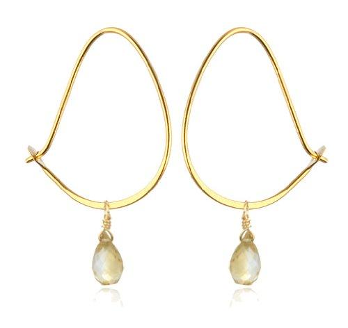 Satya Jewelry Gold Vermeil Citrine Teardrop Hoop