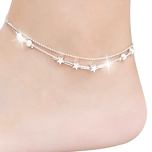 Sanwood Women's Silver Plated Charms Anklet Foot