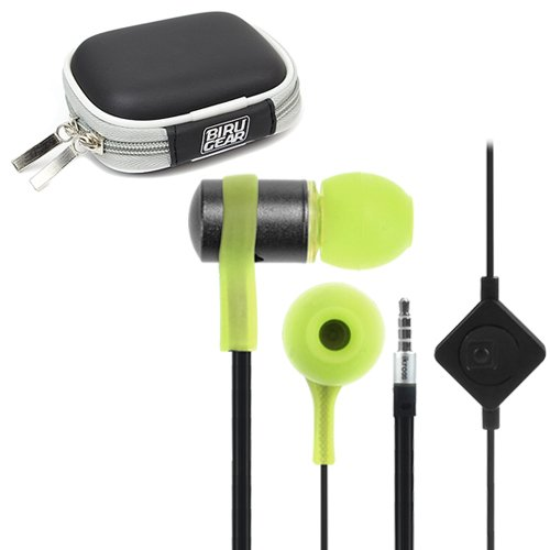 Ikross Green / Black In-Ear 3.5Mm Noise-Isolation Stereo Flat Cable Tangle Free Earbuds With Microphone + Headset Case For Coby Kyros Mid7035, Mid7047, Mid7046, Mp320, Mp210, Mid1045, Mid1042, Mid9740, Mid9042 And More Tablet Cellphone Smartphone