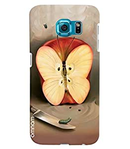 Omnam Red Apple And Butterfly Combination Printed Designer Back Cover Case For Samsung Galaxy S6