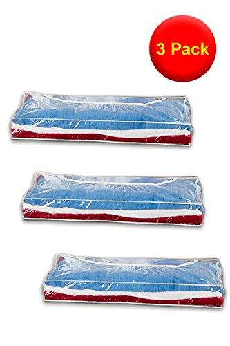 RUSSEL - 3 contenitori trasparenti e flessibili con bordo bianco, 109 x 46 x 15 cm, perfetti per coperte e abiti fuori stagione