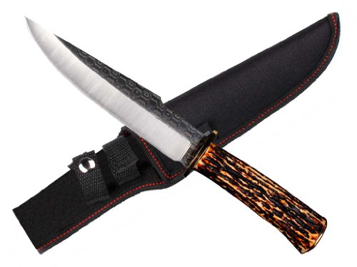 "12 1/4"" Hunting Knife With Deer Horn Imitation Handle"