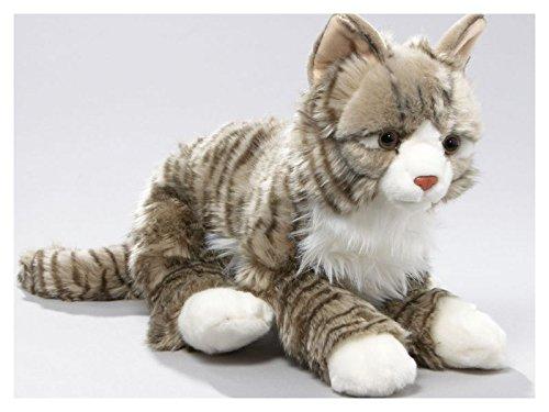 Katze getigert, grau aus Plüsch, ca. 37cm von