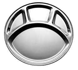 King International Stainless Steel Four Compartment Round Plate / Thali/ Mess Tray/ Dinner Plate Set of 1 pcs- 33.5 cm each