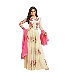 Neets Fashion Women's Off White Anarkali Heavy Salwar Suit Dress Material (LT_White)