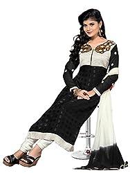 Riti Riwaz black Net Brasoo Cotton Dress Material with Dupatta KVS24003