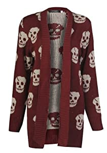 Forever Women's Skull Print Knitted Open Cardigan (ML-10/12, Wine)