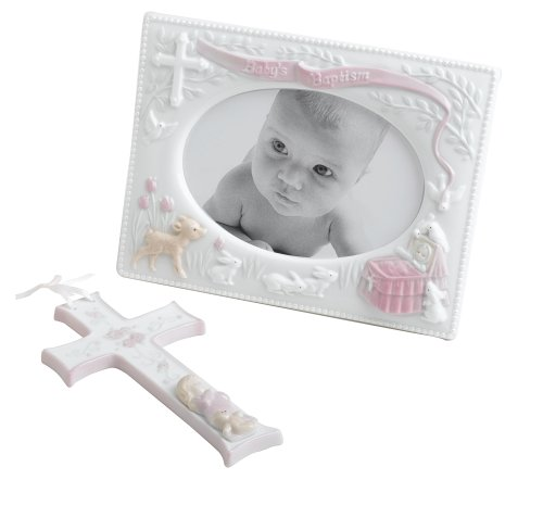 Baby's Baptism Gift Set Frame and Cross- Pink By Russ Baby - 1