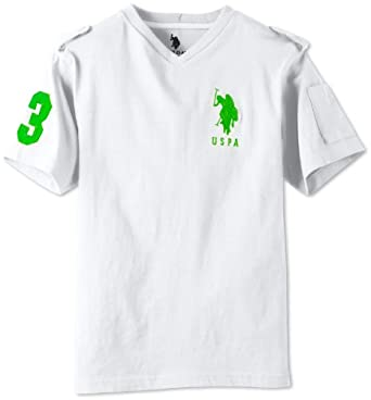 U.S. Polo Assn. Big Boys' Short Sleeve V-Neck T-Shirt with Large Pony, White/Green, 14/16