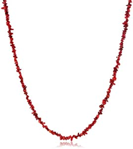 Genuine Simulated Coral Chip Necklace, 40""