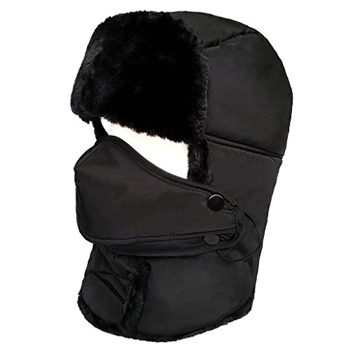 LETHMIK Winter Trapper Ushanka Hat Unisex Faux Fur Aviator Bomber Hat with Breathable Mask Black (Girl Snow Brush compare prices)