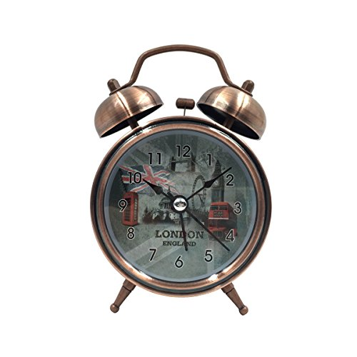 [High Quality]Hippih 2.5 Inch Quiet Clock Alarm Clock Loud Twin Bell Silent Quartz Analog Retro Vintage Bedside with Nightlight for Kids(London)