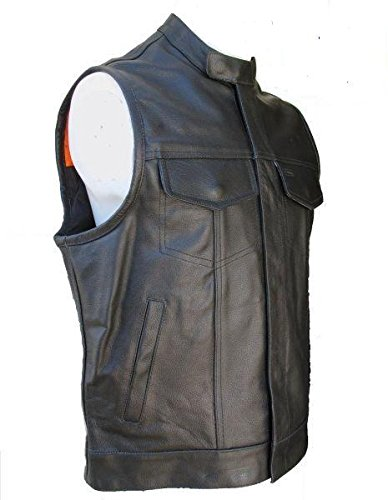 GILET CUIR COL MAO SOA TAILLE L
