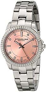 Stuhrling Original Symphony Women's Quartz Watch with Pink Dial Analogue Display and Silver Stainless Steel Bracelet 408LL.02