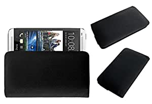 Acm Rich Leather Soft Case For Htc One Dual Sim Mobile Handpouch Cover Carry Black
