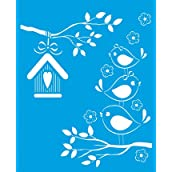 21cm x 17cm Reusable Flexible Plastic Stencil for Graphical Design Airbrush Decorating Wall Furniture Fabric Decorations Drawing Drafting Template - Birds Twitter House Tree Branch