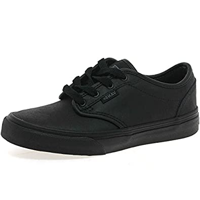 vans atwood y black leather school shoes trainers