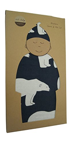 Zebi Baby 100% Certified Organic Newborn 0-3 Month Gown And Hat Set (Navy Polar Bear)