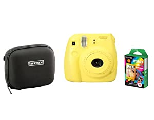 Fujifilm Instax Mini 8 Yellow Camera + Mini Rainbow Colored Border 10 images + case
