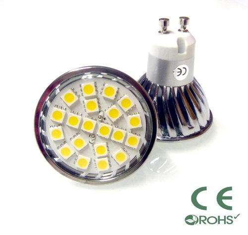 10 x DIMMABLE GU10 SMD 5050 20 LED LIGHT BULBS ENERGY SAVING 4W WARM WHITE ** HIGH POWER LEDS FOR REPLACING 50W - 60W HALOGEN **
