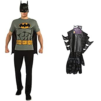 Batman T-Shirt Adult Costume Kit with Batman Adult Gauntlets