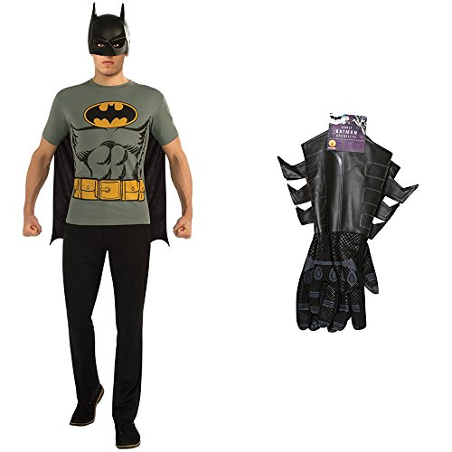 Batman T-Shirt Adult Costume Kit with Batman Adult Gauntlets (XL)