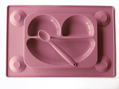 EasyMat tovagliette &-Piatto diviso In One con & Spoon. per bambini No Mess-Happy Face-Prodotto per la pappa con ciotola a ventosa, sezione-Piatto da bambini per svezzamento, 6 mesi, a partire dalla Tots R Us