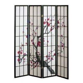 New Shoji Blossom Room Divider Screen 4 Panel Kitchen