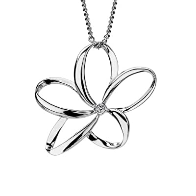 Hot Diamonds Plumeria Silver and Diamond Pendant 40cm + 5cm extender