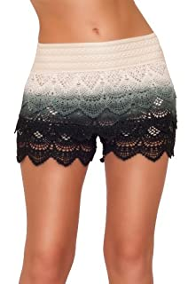 Posh Elegant Sexy Fitted Chic Lace Layered Sophisticated Summer Casual Shorts (Large, BLACK TIE DYE)